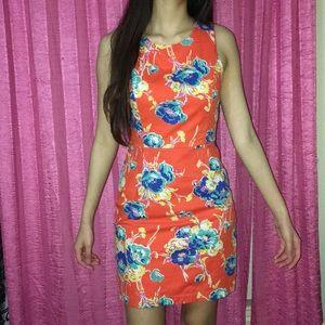 Orange Floral Spring Vacation Dress Cute